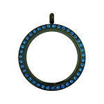 30mm Capri Blue Crystal Twist Stainless Steel Floating Locket
